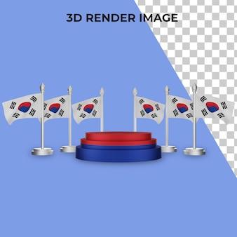Renderização 3d do pódio com o conceito do dia nacional da coreia do sul