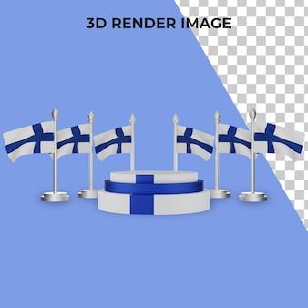 Renderização 3d do pódio com o conceito do dia nacional da finlândia