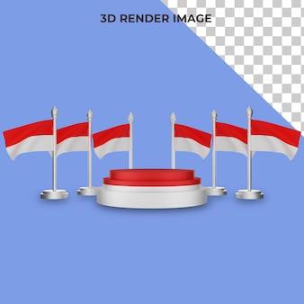 Renderização 3d do pódio com o conceito do dia nacional da indonésia premium psd