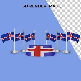 Renderização 3d do pódio com o conceito do dia nacional da islândia