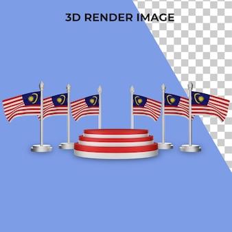 Renderização 3d do pódio com o conceito do dia nacional da malásia premium psd