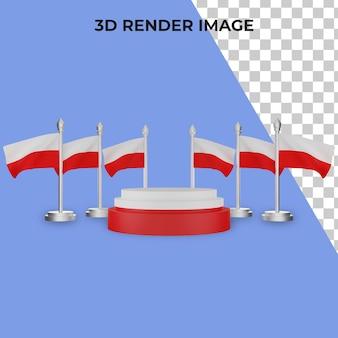 Renderização 3d do pódio com o conceito do dia nacional da polônia