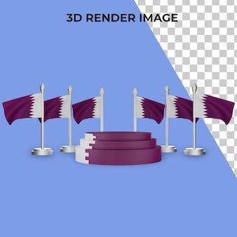 Renderização 3d do pódio com o conceito do dia nacional do catar