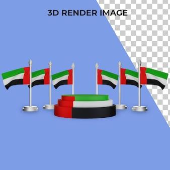 Renderização 3d do pódio com o conceito do dia nacional dos emirados árabes unidos