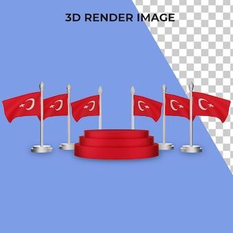 Renderização 3d do pódio com psd premium do conceito do dia nacional da turquia