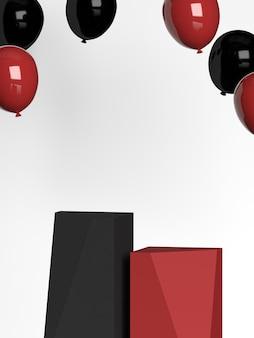 Renderização 3d do pódio da forma da geometria da cena abstrata