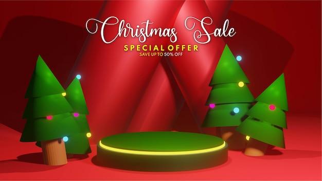 Renderização 3d do pódio de venda de natal para colocação de apresentação de produto, venda de pódio de casamento de casamento