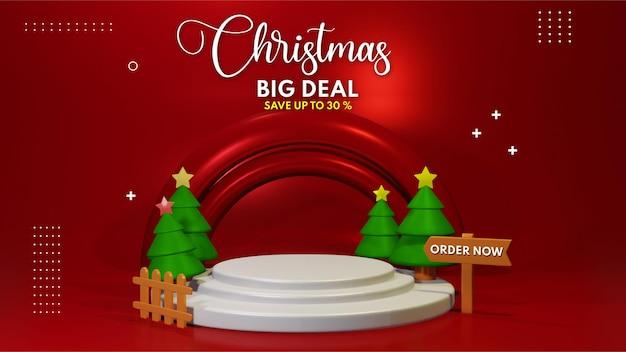 Renderização 3d do pódio do white christmas para colocação de apresentação do produto, venda do pódio do natal para casar