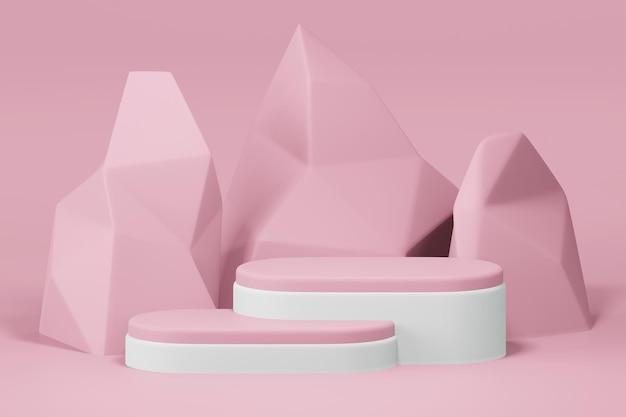 Renderização 3d do pódio em design minimalista