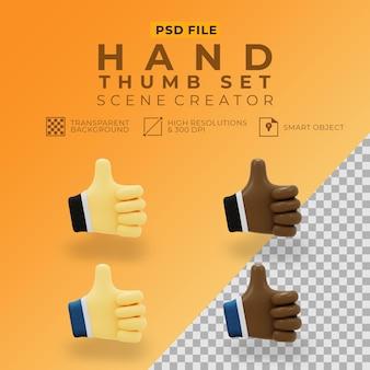 Renderização 3d do polegar da mão definido para o criador de cena