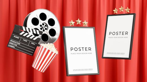 Renderização 3d do pôster de cinema flutuando com filme em rolo