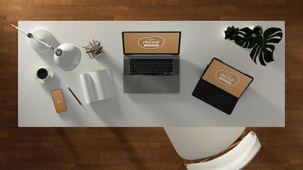 Renderização 3d do projeto da maquete do laptop