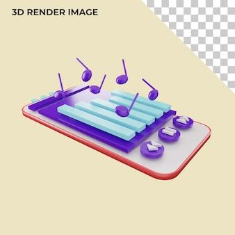 Renderização 3d do reprodutor de música para smartphone