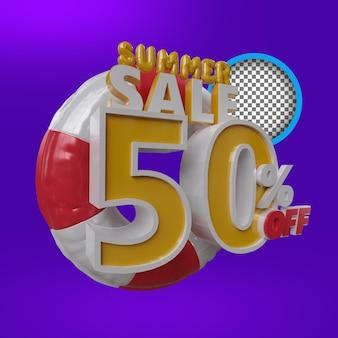 Renderização 3d do selo de desconto na promoção de verão