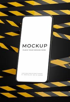 Renderização 3d do smartphone com faixa de perigo para a exibição do seu produto