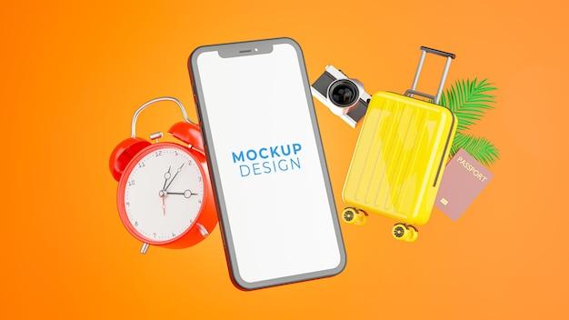 Renderização 3d do smartphone com planejamento de viagens acessório