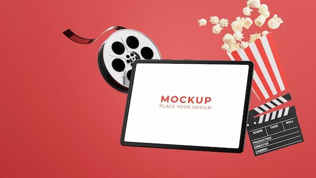 Renderização 3d do tablet com tempo de cinema online