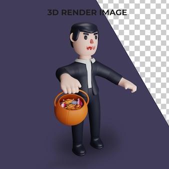 Renderização 3d do truque ou travessura do drácula com o conceito de halloween
