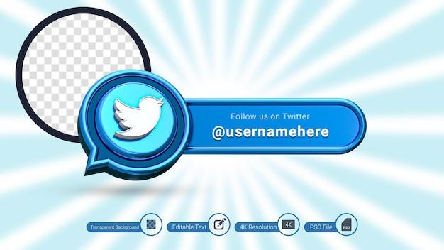 Renderização 3d do twitter siga-nos rótulo isolado ícone de banner de mídia social premium psd