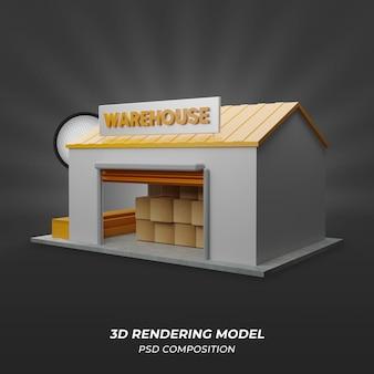 Renderização 3d do warehouse com cor laranja