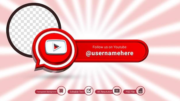 Renderização 3d do youtube siga-nos rótulo isolado ícone de banner de mídia social premium psd