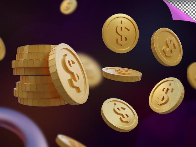 Renderização 3d dollar gold coin