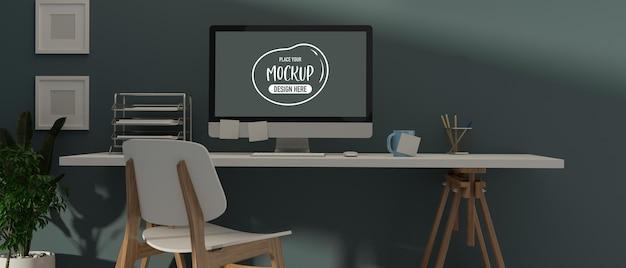 Renderização 3d elegante design de interiores de escritório em casa com maquete de computador, artigos de papelaria, suprimentos e decorações, ilustração 3d