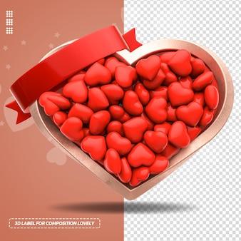 Renderização 3d em coração de metal com vários corações e fitas Psd Premium
