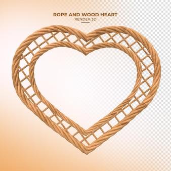 Renderização 3d em corda de madeira em forma de coração