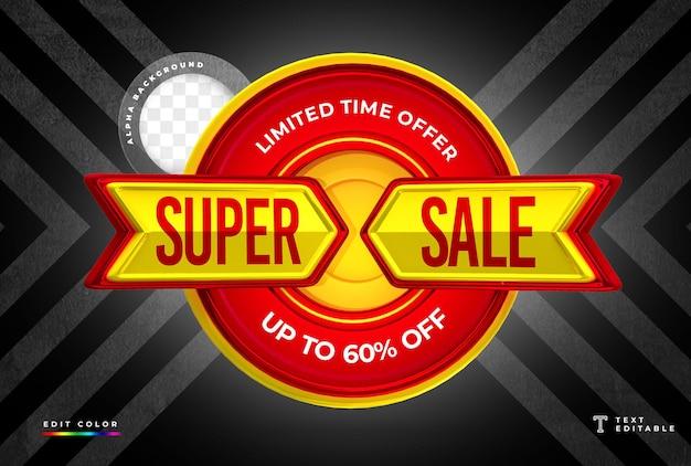 Renderização 3d em forma de seta com super venda e design de etiqueta de preço