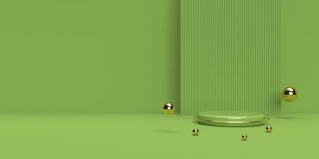 Renderização 3d em verde e dourado do pódio de forma de geometria de cena abstrata para exibição de produto