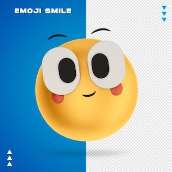 Renderização 3d emoji smile isolada