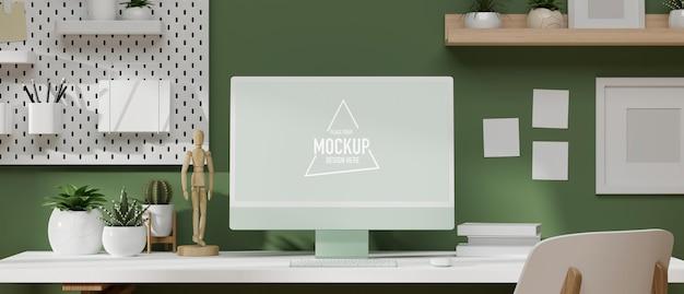 Renderização 3d, espaço de trabalho moderno de ilustração 3d com monitor de computador na mesa branca com material de escritório, decoração de escritório moderna e papel de parede verde