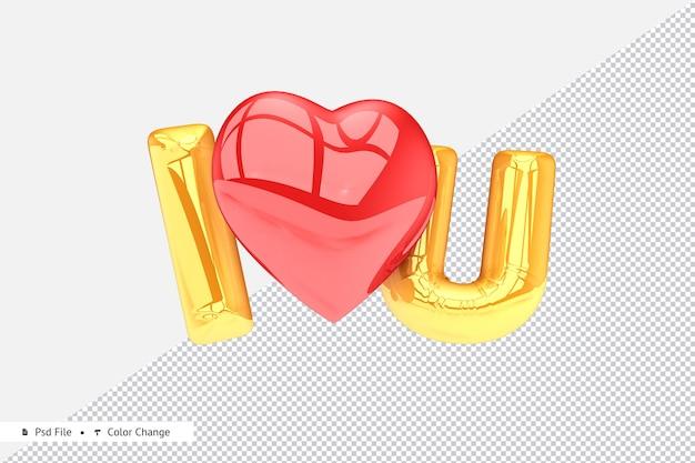 Renderização 3d golden realistic love balloon