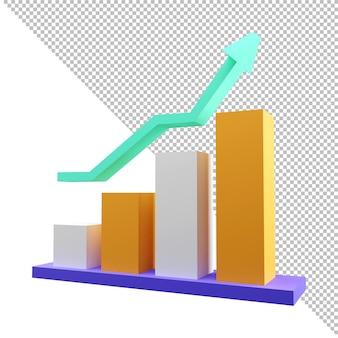 Renderização 3d gráfico financeiro conceito de roi retorno sobre o rendimento do lucro do investimento
