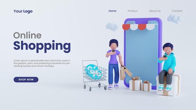 Renderização 3d homem e mulher compras online com conceito de tela de smartphone modelo de página de destino psd
