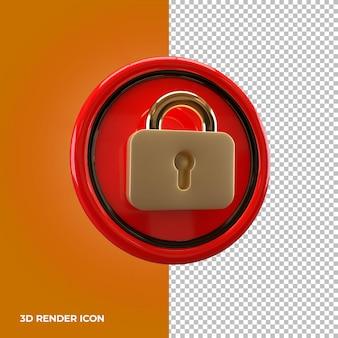 Renderização 3d ícone de cadeado premium psd