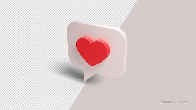 Renderização 3d ícone de chat de amor