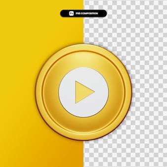 Renderização 3d ícone de música do youtube no círculo dourado isolado