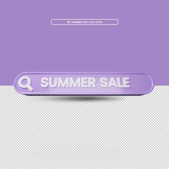 Renderização 3d ícone de pesquisa de venda de verão