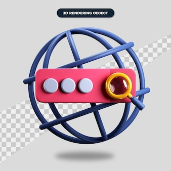 Renderização 3d ícone do mecanismo de pesquisa da web, endereço do site e lupa