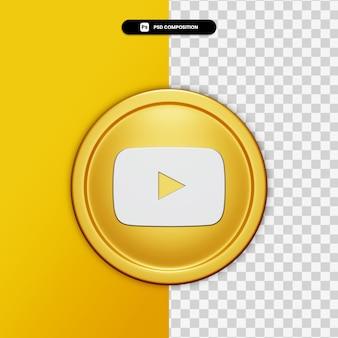 Renderização 3d ícone do youtube no círculo dourado isolado