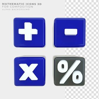 Renderização 3d ícones matemáticos