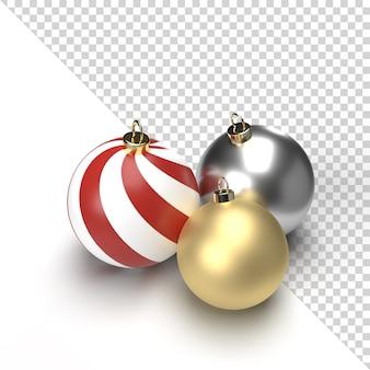 Renderização 3d isolada com bola de natal em ouro e prata