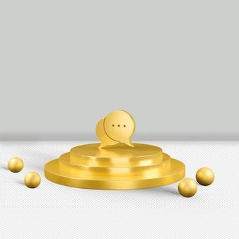 Renderização 3d isolada com ícone dourado de mensagem