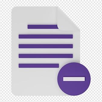 Renderização 3d isolada de ícone de exclusão de documento psd