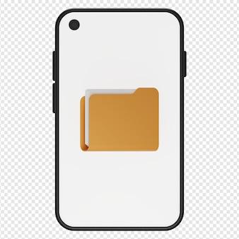 Renderização 3d isolada de pasta no ícone do smartphone psd
