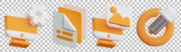 Renderização 3d isolada de vários objetos