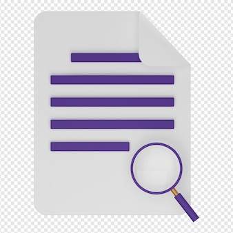 Renderização 3d isolada do ícone do documento de pesquisa psd