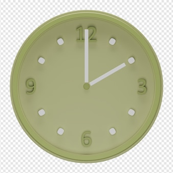 Renderização 3d isolada do ícone do relógio de parede psd
